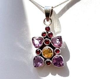 Amethyst, Citrine, Garnet Gemstone Sterling Silver Pendant In our Custom Design - Womens Gift Birthstone Gemstone Necklace 16, 18, 20 Chain