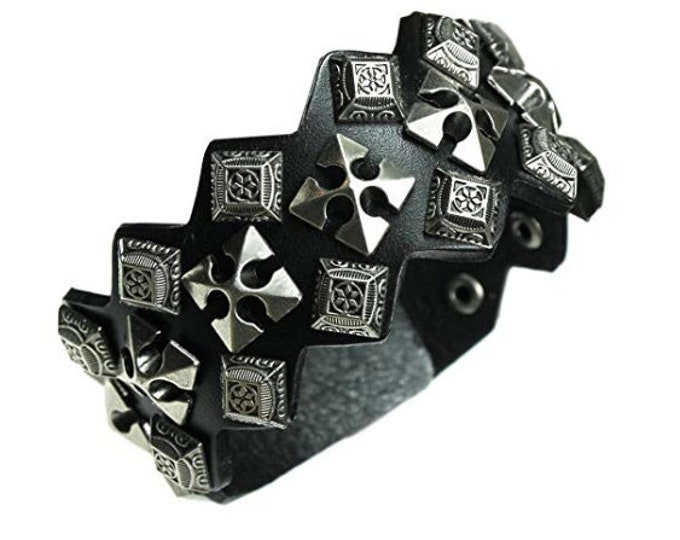 Black Leather Bracelet Cross Studded Rugged Wide Cuff Gothic Celtic Cross Bracelet for Men Women Teens Byzantine Design Adjustable