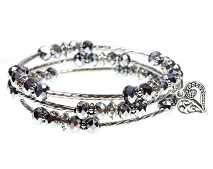 3x Wrap Bracelet Iridescent Bead, CHOOSE Your Charm Personalize w Ornate Heart, Cross, Celtic Fleur De Lis, Mom Heart, Tree of Life