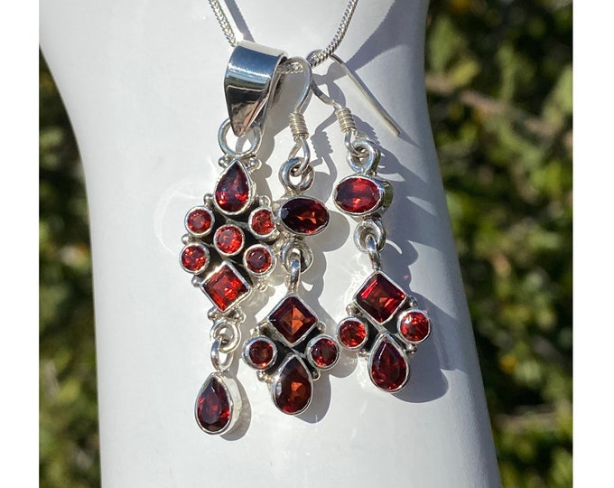 Garnet Gemstone Pendant or Earrings or Set, Sterling Silver, Allure January Birthstone Jewelry by Beautiful Silver Jewelry, Necklace Set