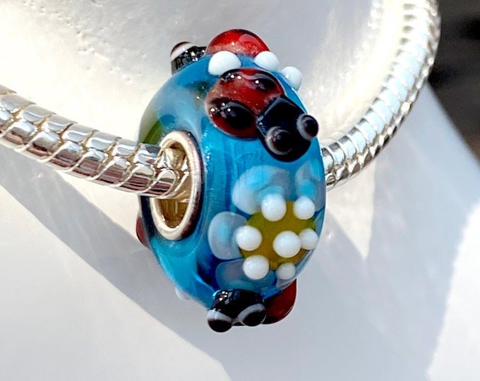 4 Red Ladybugs Lampwork Glass Bead - 925 Sterling Silver Interior Slide On Bead For European Style Snake Chain Charm Bracelets, Save on More