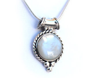 Iridescent Mother of Pearl Sterling Silver Pendant - Comes with A Complimentary SP Chain in 16, 18 or 20 inch length