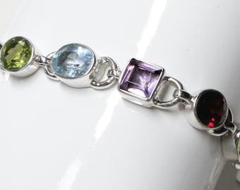 Gemstone Bracelet 18 ct Sky Blue Topaz, Citrine, Peridot, Amethyst, Smoky Topaz, Garnet Sterling Silver Birthstone Gem Stone Link Bracelet