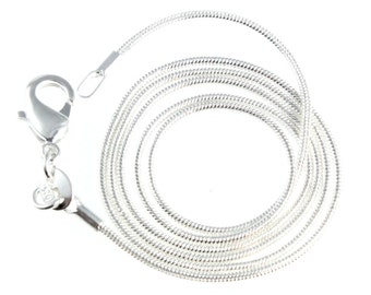 20 Inch Snake Necklace Chain with Sturdy Lobster Clasp, Silver Plated, 1mm Wide for Necklaces, Pendants