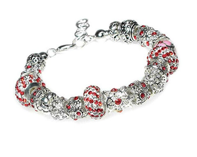Red and White Sparkling Crystal European Charm Bracelet on Snake Chain with Adjustable Lobster Clasp