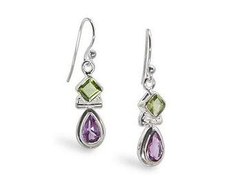 Peridot and Amethyst Gemstone Sterling Silver Earrings