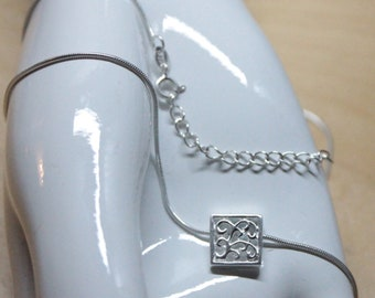 Petite Scroll Vine Design Pendant Necklace sterling silver with 16 inch snake chain and 2 inch extender 17 inch 18 inch exclusive design