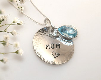 MOM stamped Sterling Silver Pendant with Blue Topaz Pear Cut Gemstone on 16 inch Sterling Silver Chain w Extender Chain, Great Gift for Mom