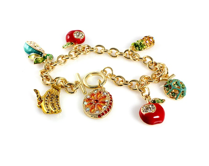 Darling Fruit Charm Bracelet with crystals, orange slice, red apple with bite, melon, pineapple, pear and banana bunch, 8 inch link bracelet