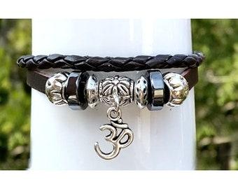 OM Leather Bracelet Quality Hand Made Leather Beaded 2 Strand Wrap Bracelet, Mens, Teens, Womens Bracelet, Adjustable Drawstring, Gift Box