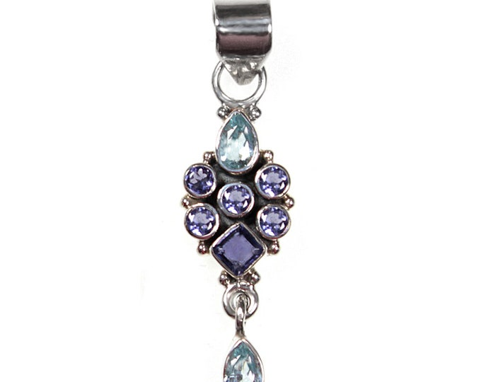 Iolite and Sky Blue Topaz Pendant Necklace Genuine Gemstones 925 Sterling Silver Necklaces - Exclusively from Beautiful Silver Jewelry