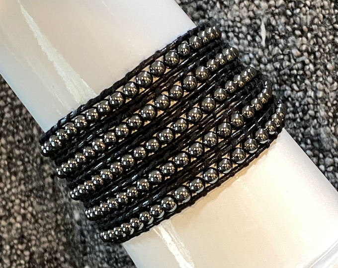 Hematite 5x Wrap Bracelet - Special 20. - Quality Hand Sewn with Multi Ply Thread Hand on Black Leather with Round Hematite Gemstone Beads