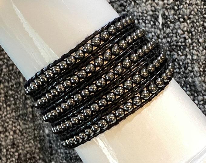 Hematite Bead Black Leather 5x Wrap Bracelet Quality Hand Sewn Bracelet with Beautiful Hematite Gemstone Beads Fits Up to XL and Plus Size