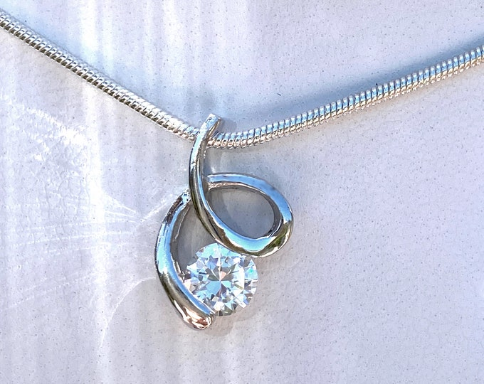 "1 Carat CZ Sterling Silver Solitaire Swirl Cubic Zirconia Pendant Comes with 16"" or 18"" SP Necklace Chain for Wedding, Birthday, Bridesmaids"