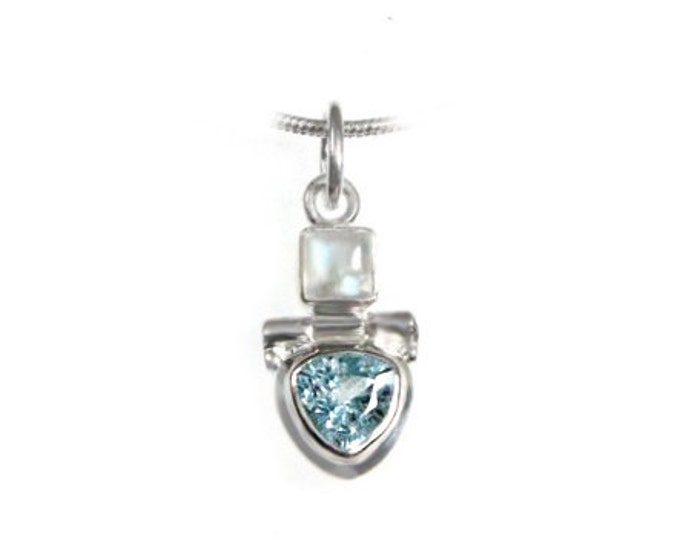 Trillion Cut Blue Topaz and Moonstone Gemstone Sterling Silver Pendant - Choose 16 or 18 Inch Necklace Chain