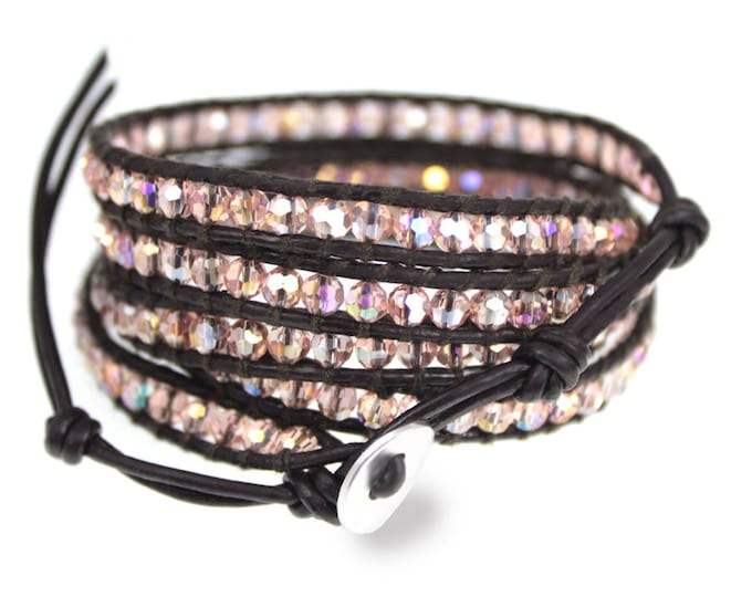 Pink Crystal Wrap Brown Leather 5x Wrap Bracelet