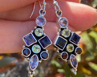 Iolite, Garnet, Peridot, Amethyst Garnet Faceted Birthstone Gemstone Earrings 925 Sterling Silver Exclusively from Beautiful Silver Jewelry