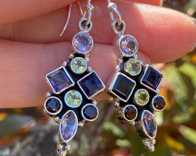 Iolite, Garnet, Peridot, Amethyst Garnet Faceted Birthstone Gemstone Earrings 925 Sterling Silver Exclusively from Beautiful Silver Jewelry