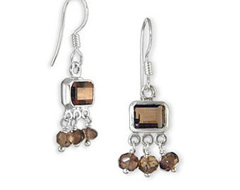 Emerald Cut Smoky Topaz Gemstone Earrings 925 Sterling Silver Gift Box Plus Free Shipping