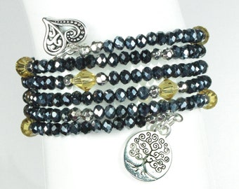 Black Beaded Triple Wrap Bracelet with Ornate Heart and Tree of Life Charms - Exclusively from Beautiful Silver Jewelry