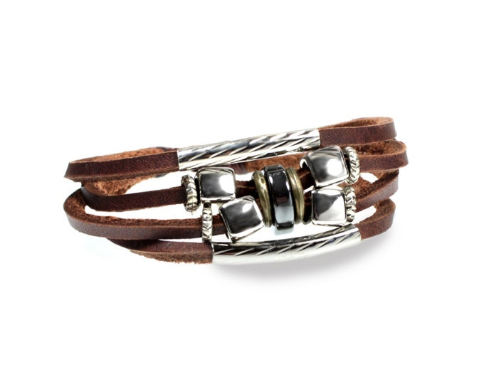 Cube Design UNIQUE Multi Strand Genuine Leather Zen Bracelet is Quality Hand Made & Adjustable for Men, Women, Teens, Boys, Girls, Gift