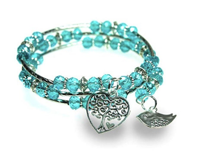 Tree of Life Heart and Bird Blue Faceted Glass Bead Triple Wrap Silvertone Beaded Bangle Bracelet