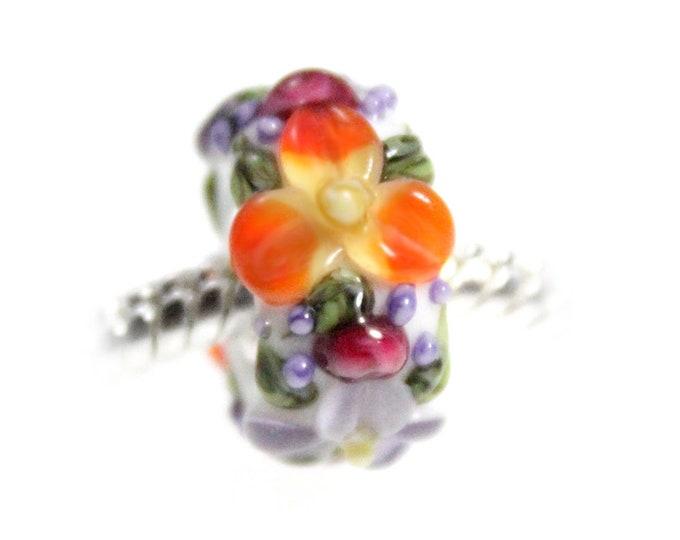 Flower Garden Lampwork Glass Bead - 925 Sterling Silver Interior Slide On Bead For European Style Snake Chain Charm Bracelets - Save on More