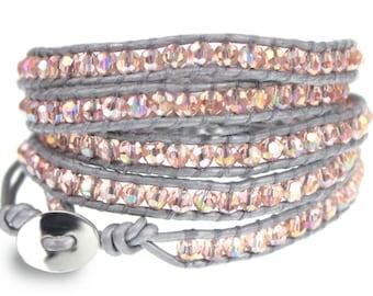Pink Crystal Bead Silver Leather 5x Wrap Bracelet Boho Five Times Wrap Womens Jewelry Gift Beaded Hand Sewn Leather Long Wrap Bracelet