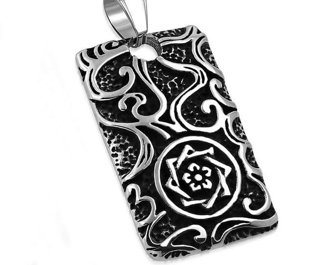 Men's Celtic Star Dog Tag Necklace Stainless Steel Heavyweight Carved Design
