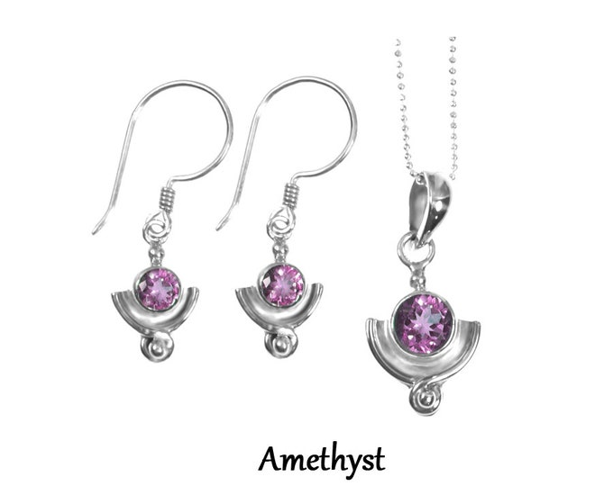 Amethyst Gemstone Sterling Silver Earring and Necklace and Set, Birthstone Jewelry, Handmade 925 Sterling Silver Exclusive Design by BSJ