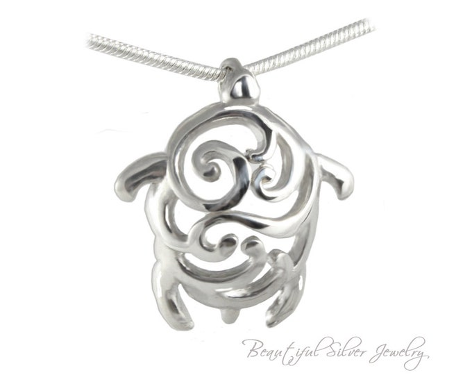 """Honu Hawaiian Turtle Sterling Silver Pendant for Men, Women, Boys and Girls. With Free SP Necklace Chain in 16"""" 18"""" 22"""" or 24"""" length"""