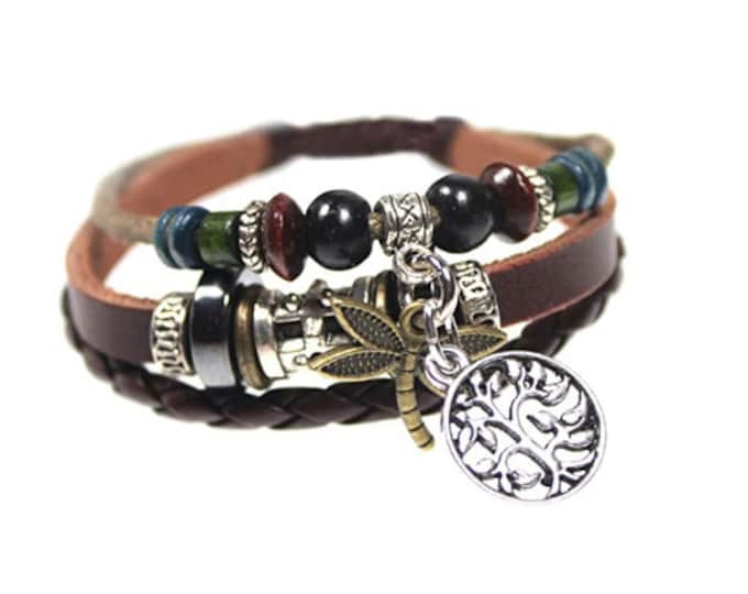 Dragonfly and Tree of Life Genuine Leather Multi Strand Zen Bracelet Quality Handmade Cuff Men, Women, Teens, Teenager, Boys, Girls, Unisex