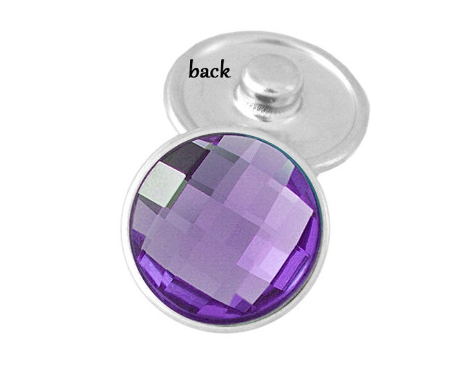 SNAP button - purple faceted snap button charm - chunk buttons - ginger snaps - interchangeable jewelry - SNAP jewelry - snap chunk