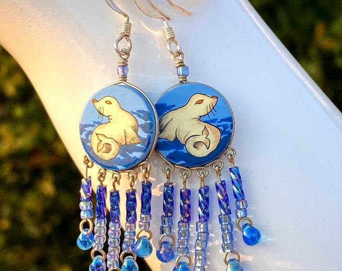 Hand Painted Ocean Seal Earrings, Animal Art Earrings, Beaded Dangle Earrings for Women, Girls Teens, Beach and Ocean Jewelry