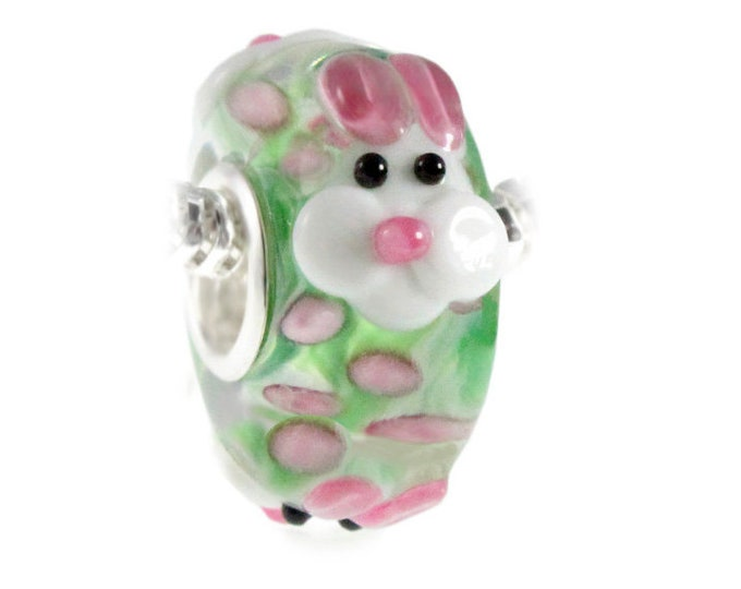 Bunny Face Green and Pink Lampwork Glass Bead Charm - Sterling Silver Interior Slide On Bead For European Style Snake Chain Charm Bracelets