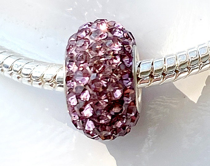 Dusty Pink Crystal Bead Charm - Sterling Silver Style Slide On Bead For European Style Snake Chain Charm Bracelets