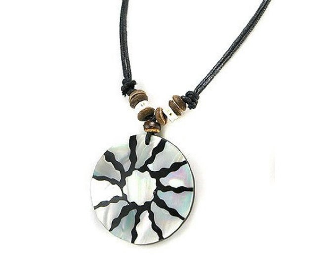 Starburst Design Iridescent Shell Necklace, 18 to 35 inches