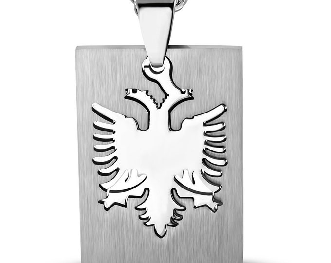 """Albanian Eagle Two Piece Dog Tag Pendant Necklace in Stainless Steel  with Choice of Chain: 24"""" Military Ball Chain or 16"""" 18"""" 22"""" Chain"""