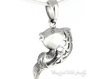 Fish Pendant 925 Sterling Silver 3-D Fish Necklace