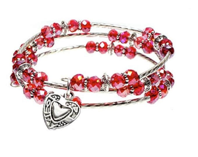 Heart Charm Sparkling Red Faceted Glass Bead Triple Wrap Silvertone Beaded Bangle Bracelet - Exclusively from Beautiful Silver Jewelry