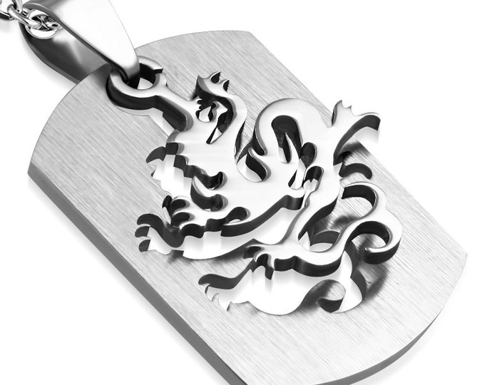 """Dragon Two Piece Dog Tag Pendant Necklace in Stainless Steel  with Choice of Chain: 24"""" Military Ball Chain or 16"""" 18"""" 22"""" Chain"""