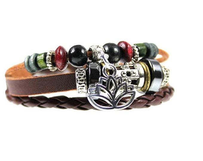 Lotus Flower Genuine Leather Multi Strand Zen Bracelet, Quality Handmade Beaded Bracelet, Men, Women, Teens, Teenager, Boys, Girls, Unisex