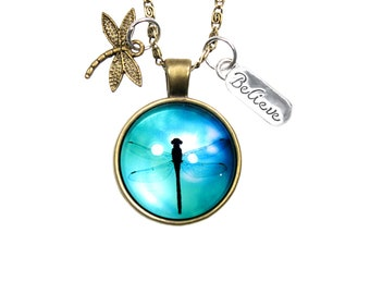 Dragonfly Pendant Necklace with Dragonfly and Believe Charms on 18 Inch Chain - Blue Charm Necklace Jewelry Gift for Women, Teens and Girls