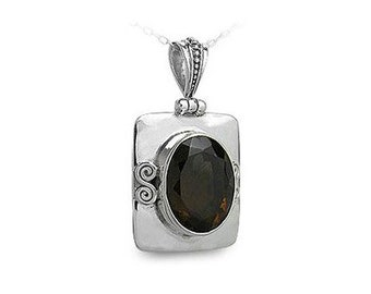 20 carat Faceted Smoky Topaz Gemstone Pendant Necklace Handcrafted in 925 Sterling Silver