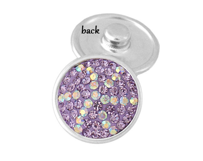 SNAP button - purple violet crystal with white accent - snap button - chunk buttons - ginger snaps - interchangeable SNAP jewelry snap chunk