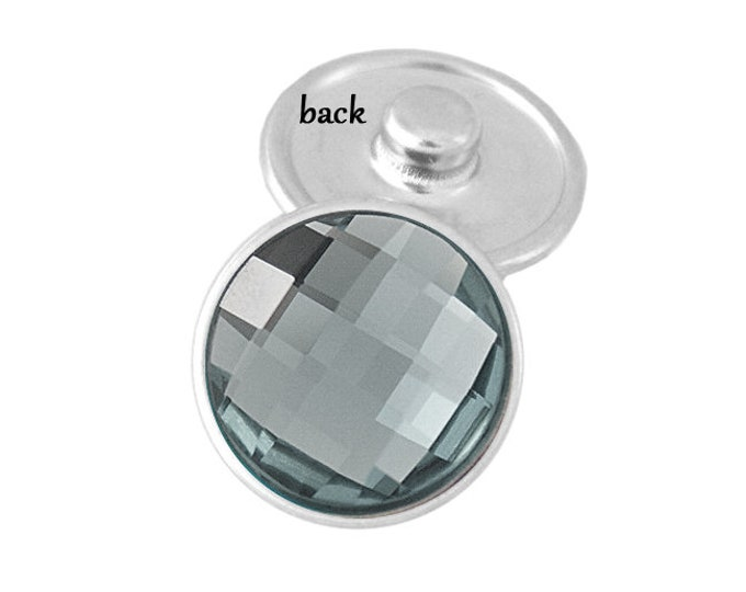 SNAP button - gray faceted - snap button - chunk buttons - ginger snaps - interchangeable jewelry - SNAP jewelry - snap chunk