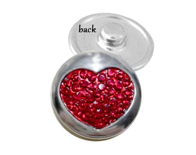 SNAP button - red crystal heart snap charm - snap button - chunk buttons - ginger snaps - interchangeable jewelry -SNAP jewelry - snap chunk