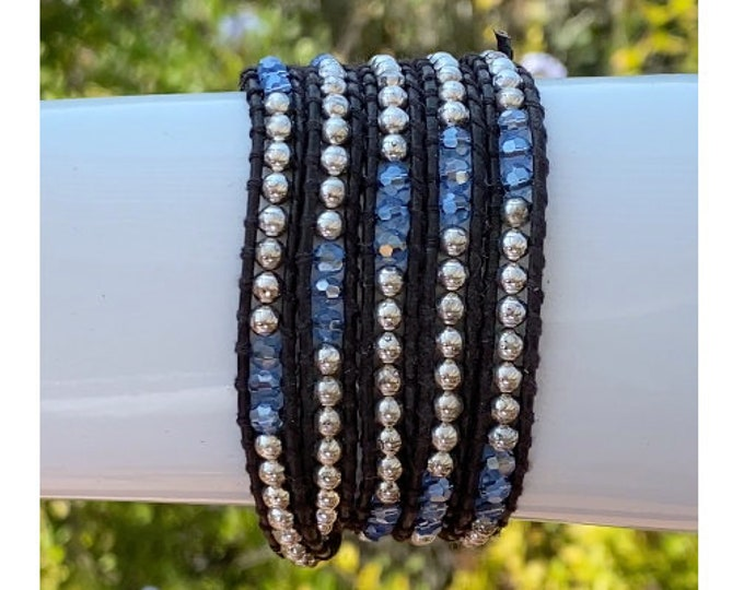 Iridescent Blue Crystal Beads and Silver Beads on Dark Brown Leather Wrap Bracelet, Quality 5x Hand-sewn Wrap Bracelet Fits Up To Plus Size