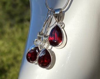 Pear Cut GARNET Gemstone Earrings and Pendant or Set Handcrafted in 925 Sterling Silver - January Birthstone, Wedding, Bridesmaids Jewelry
