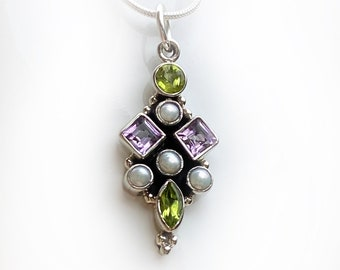 Suffragette Pendant Necklace Sterling Silver Handmade with Amethyst, Peridot and Pearl Gemstones Representing Women's Rights Movement by BSJ